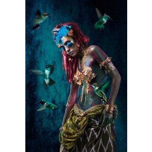Glasschilderij Blue woman 1