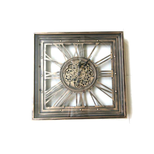 Square wall clock with spinning gears 80 cm.
