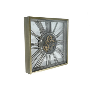 Open wandklok met tandwielen open Silver 53 cm.