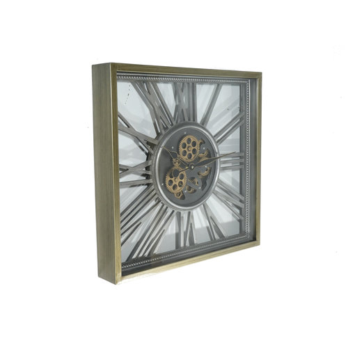 Open wall clock with gears open Silver 53 cm.