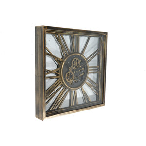 Open square radar wall clock Antique Gold 53 cm.