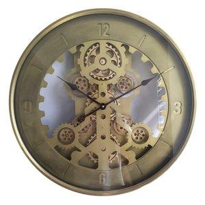Runde Wanduhr mit Radar Gold 60 cm.