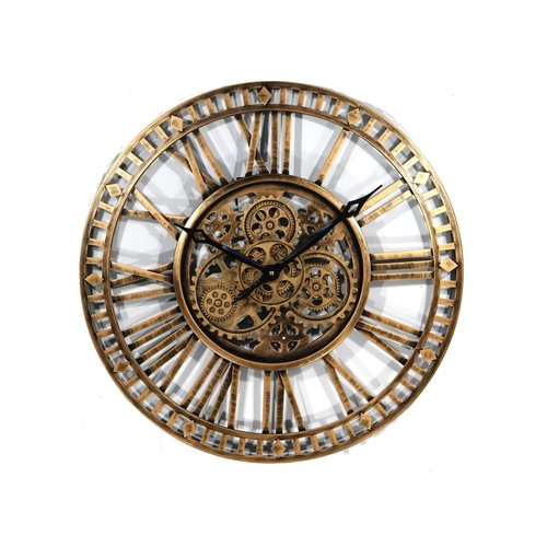 XL Wall clock with gears Gold 110 cm.