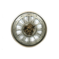 Open wall clock with gears Greygold 60 cm.