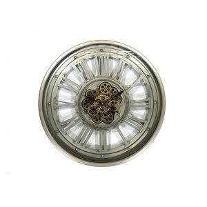 Offene Wanduhr mit Zahnrädern Greygold 60 cm.