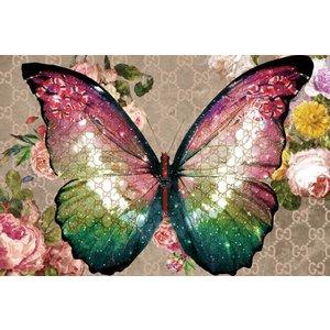 Glasschilderij Vlinder glans 120x80 cm met effect