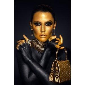Glasschilderij 80x120 Black and gold woman