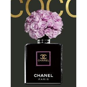 Glasschilderij 60x80 cm. Chanel pink flowers