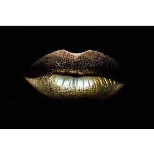 Glasschilderij Golden lips 80x120 cm.