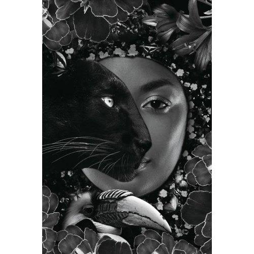 Glasschilderij 80x120 cm. Black panter