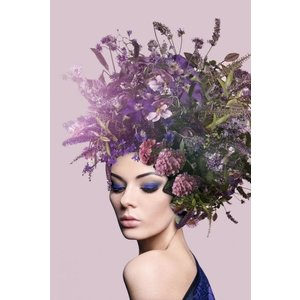Glass painting 80x120 cm. Lavender lady