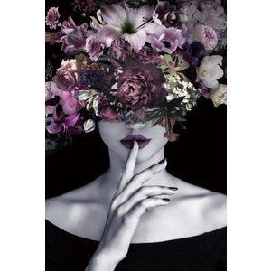 Glasschilderij 80x120 cm. Purple lady