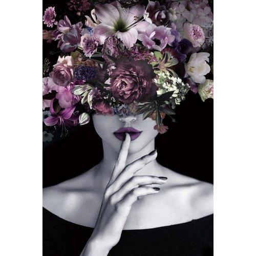 Glass painting 80x120 cm. Purple lady