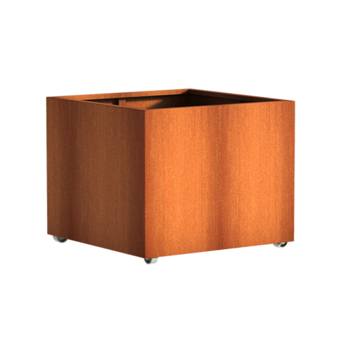 Adezz Producten Planter Corten steel Square Andes with wheels 100x100x80