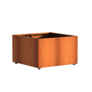 Adezz Producten Planter Corten steel Square Andes with wheels 100x100x60