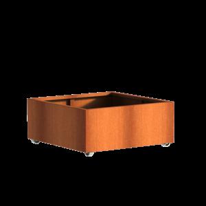 Adezz Producten Pflanzer Corten Stahl Square Andes mit Rädern 100x100x40