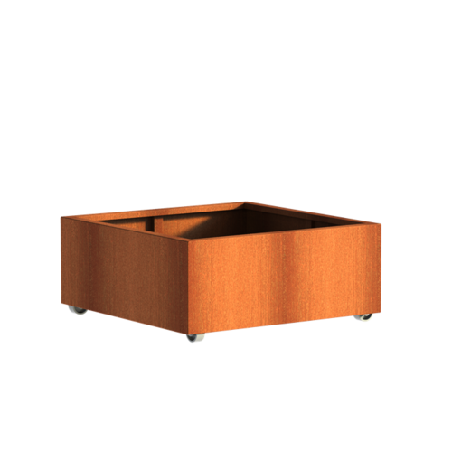 Adezz Producten Planter Corten steel Square Andes with wheels 100x100x40