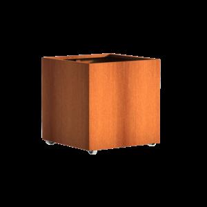 Adezz Producten Planter Corten Stahl Square Andes mit Rädern 80x80x80