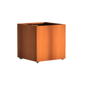 Adezz Producten Planter Corten steel Square Andes with wheels 80x80x80