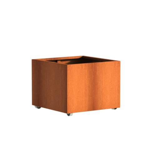 Adezz Producten Planter Corten steel Square Andes with wheels 80x80x60