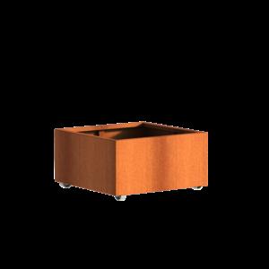 Adezz Producten Pflanzer Corten Stahl Square Andes mit Rädern 80x80x40