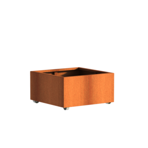 Adezz Producten Planter Corten steel Square Andes with wheels 80x80x40