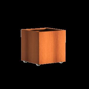 Adezz Producten Pflanzer Corten Stahl Square Andes mit Rädern 70x70x70