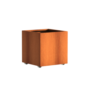 Adezz Producten Plantenbak Cortenstaal Vierkant Andes met wielen 70x70x70cm