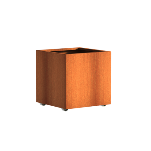 Adezz Producten Planter Corten steel Square Andes with wheels 70x70x70