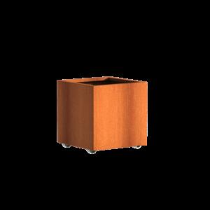 Adezz Producten Plantenbak Cortenstaal Vierkant Andes met wielen 60x60x60cm