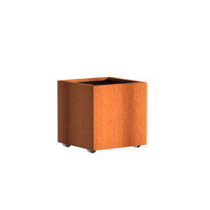 Adezz Producten Planter Corten steel Square Andes with wheels 60x60x60