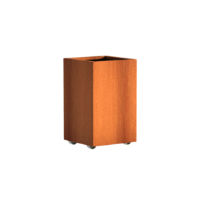 Adezz Producten Planter Corten steel Square Andes with wheels 50x50x80