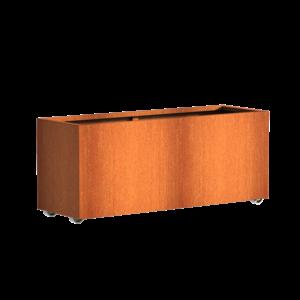 Adezz Producten Pflanzgefäß Corten Stahl Rechteck Anden mit Rädern 150x50x60