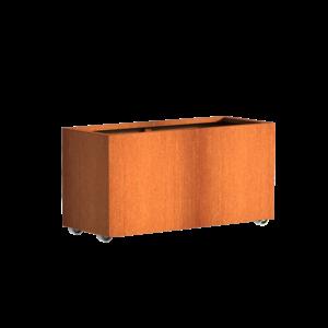 Adezz Producten Pflanzgefäß Corten Stahl Rechteck Anden mit Rädern 120x50x60