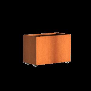Adezz Producten Plantenbak Cortenstaal Rechthoek Andes met wielen 90x50x60cm