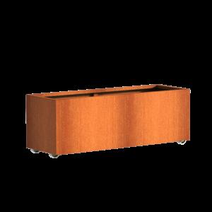 Adezz Producten Pflanzgefäß Corten Stahl Rechteck Anden mit Rädern 150x50x50