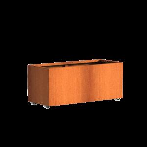 Adezz Producten Pflanzgefäß Corten Stahl Rechteck Anden mit Rädern 120x50x50