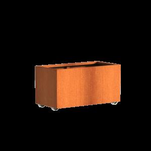 Adezz Producten Pflanzgefäß Corten Stahl Rechteck Anden mit Rädern 100x50x50