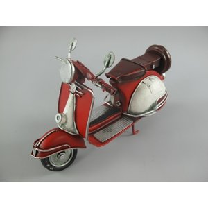 Miniatuur model scooter rood/wit