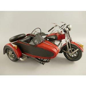 Miniatuur model Motor met zijspan Rood