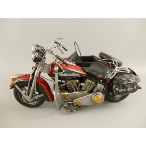 Miniature model Motorcycle with sidecar Red