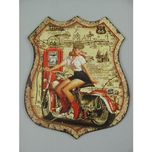 Wall decoration Woman on a motorbike