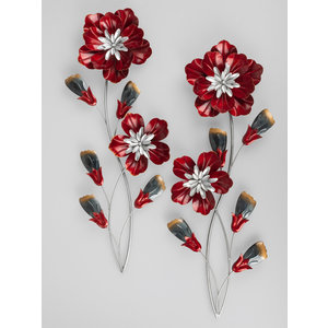 Wall deco 2-part flower red