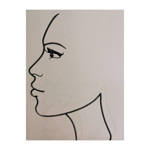 Silhouette face middle woman black 80cm