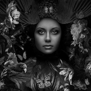 Glass painting 80x80 cm. Jungle woman