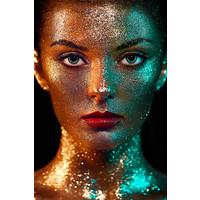 Glasschilderij Golden Face