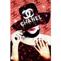 Glasschilderij Chanel hoed