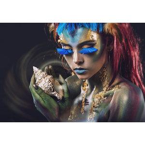Glasschilderij Vrouw met schelp