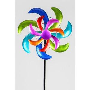 Tuinsteker met draaiende bloem Felgekleurd