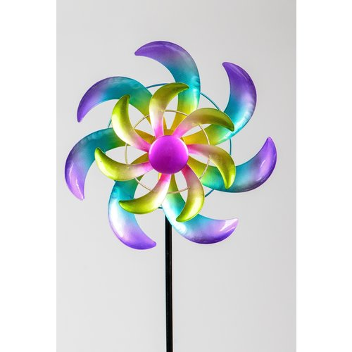 Garden stick with rotating flower Pastel colors